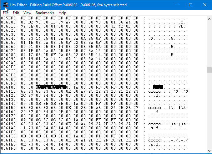 Character Name in Hex Editor